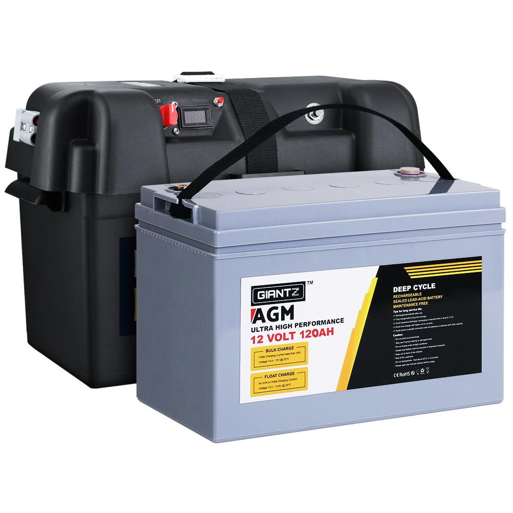 GIANTZ 120Ah Deep Cycle Battery & Battery Box 12V AGM Marine Sealed Power Solar