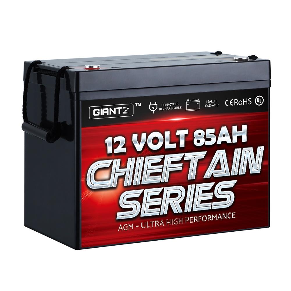 GIANTZ 85Ah Deep Cycle Battery 12V AGM Marine Sealed Power Portable Box Solar