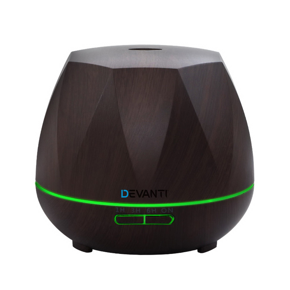 Devanti Ultrasonic Aroma Aromatherapy Diffuser Oil Electric LED Air Humidifier 400ml Dark Wood