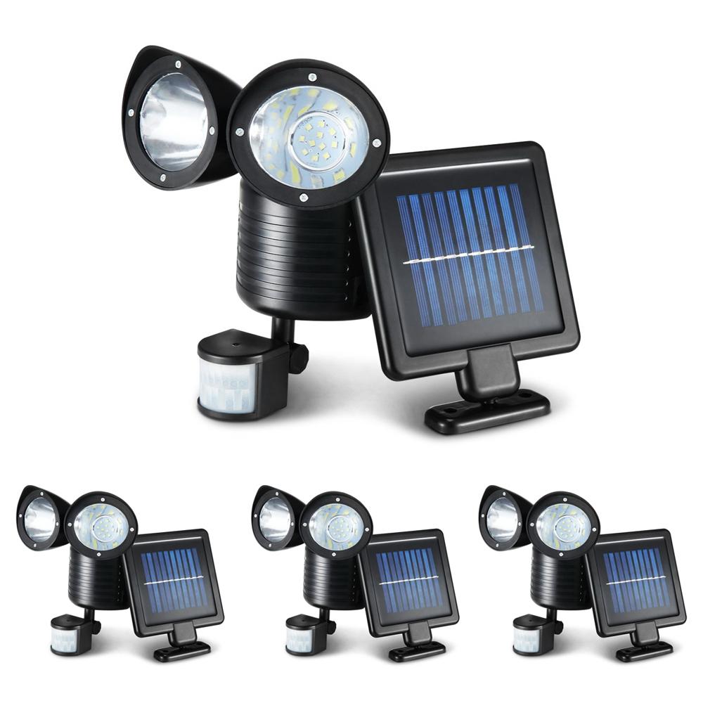 4X 22 LED Solar Powered Dual Light Security Motion Sensor Flood Lamp Outdoor