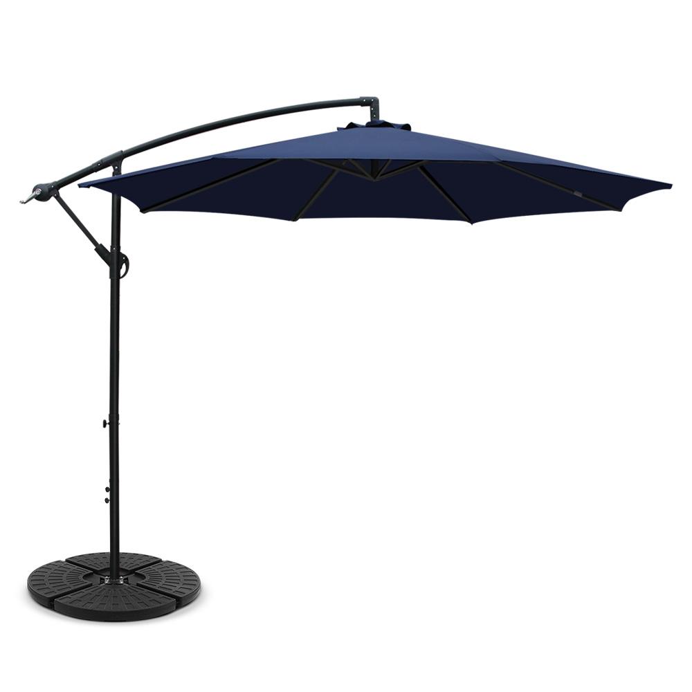 Instahut 3M Umbrella with 48x48cm Base Outdoor Umbrellas Cantilever Sun Beach Garden Patio Navy