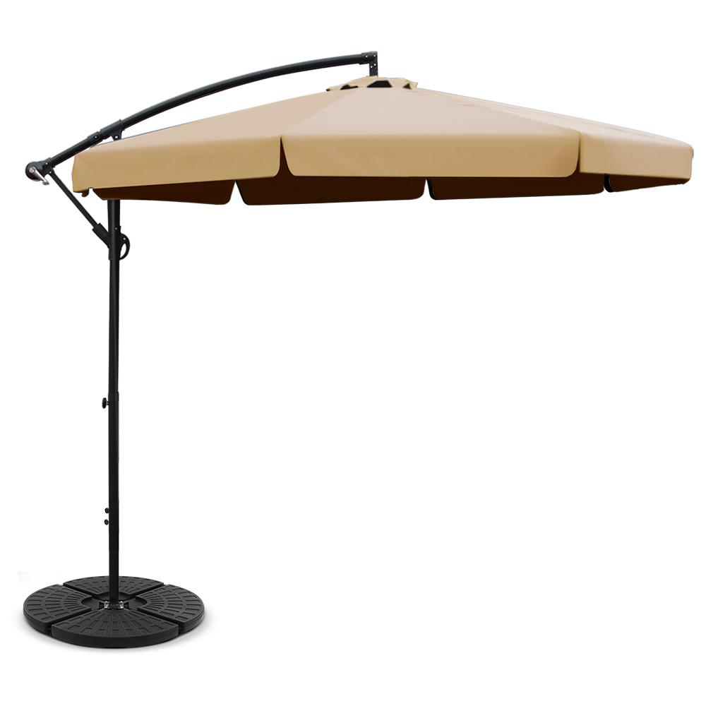 Instahut 3M Umbrella with 48x48cm Base Outdoor Umbrellas Cantilever Sun Beach UV Beige
